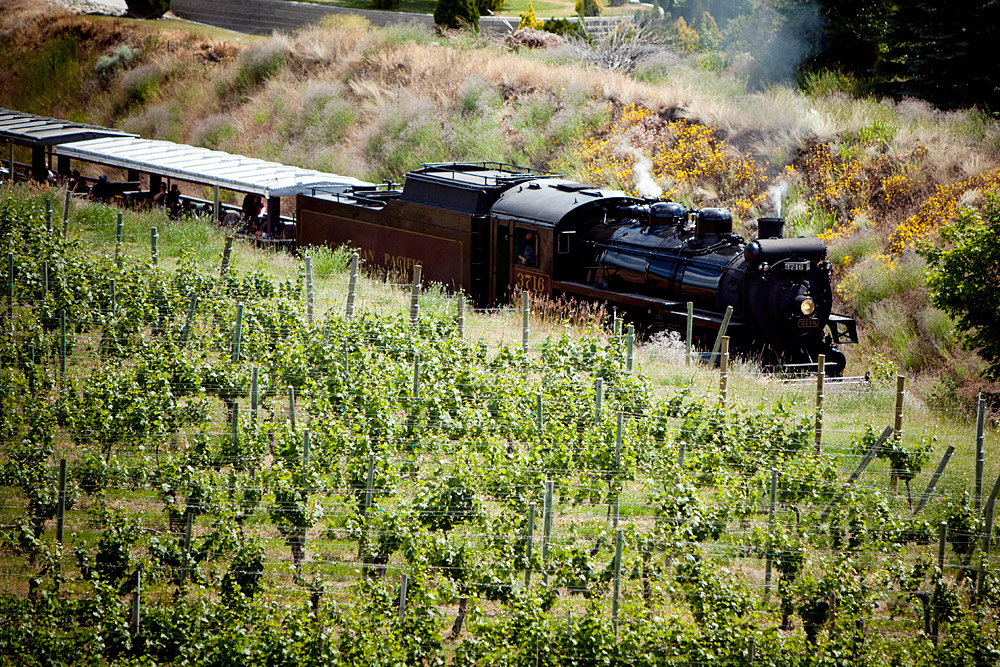 Kettle Valley Railway as seen from Dirty Laundry Vineyard
