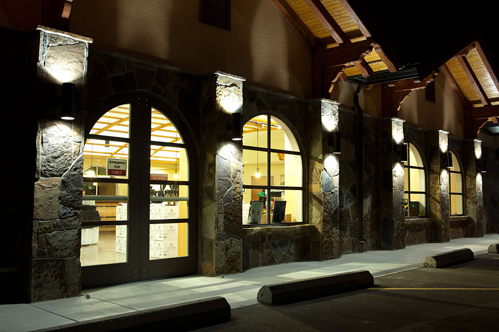 Wine shop at night
